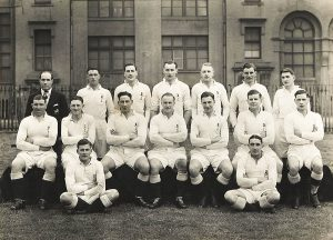 1947 England Rugby Union Team with Captain Joe Mycock.