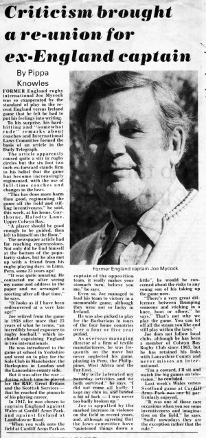 Joe Mycock newspaper article c.1970s